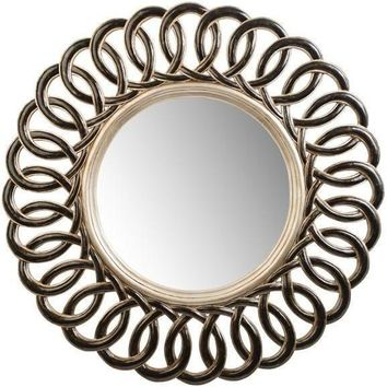 GM Luxury Elios Round Decorative Wall Art Hand Carved Mirror, Leaf 35.4x35.4