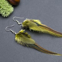 Woodland feather earrings: small nature real feathers earrings, forest jewelry, soft jewellery, olive colour, delicate, gift for christmas