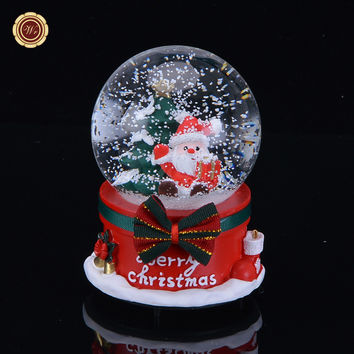 WR Snow Globe Music Box Gift Merry Christmas with LED Light Colorful Crystal Ball Christmas Decorations for Home