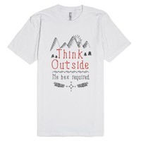 Think Outside - No Box Required-Unisex White T-Shirt