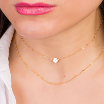 Initial Choker Necklace • Personalized Disc Necklace in 14k gold filled Sterling silver and Rose Gold Filled • Personalized Choker |0270-2NM