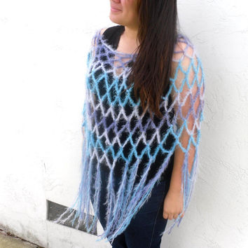 Fringed Crochet Poncho in Blues and Teal - Plus Size - by Tejidos on Etsy