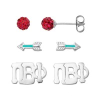 Sunstone 925 Sterling Silver Pi Beta Phi Sorority Stud Earring Set (Red)