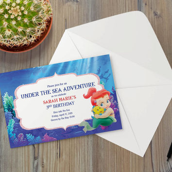 Instant Download - Little Mermaid Princess Baby Ariel Flounder Fish Undersea Ocean Nautical Party Event Invitation Template