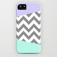 gray, mint, and purple chevron iPhone & iPod Case by Hannah
