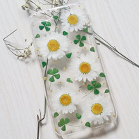 Handmade Real  natural pressed daisy flowers iphone 6 6 plus case iphone 4s 5 5s 5c case samsung galaxy s5 note2 note3 case white design