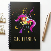 Writing journal, spiral notebook, bullet journal, black sketchbook, cute notebook, blank lined grid, zodiac sign, astrology - Sagittarius