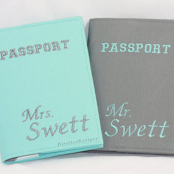 Custom Mr. and Mrs. Personalized Passport Holder / Passport Cover Set of two/ aqua and grey wedding gift