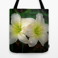 Radiant white daylily Tote Bag by RVJ Designs