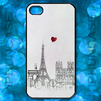Eiffel Tower Notre Dame Red Heart Balloon Cute Paris France Drawing Case <> Apple iPhone 4, iPhone 4S, iPhone 5, iPhone 5S & iPhone 5C Cases
