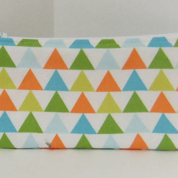 Zip Pouch-Pencil pouch- Cosmetics pouch- made by me using Geometric / Triangle fabric