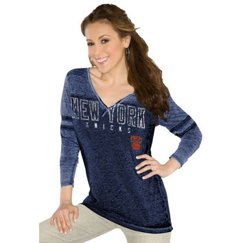 Touch by Alyssa Milano New York Knicks Womens Gridiron V-Neck Burnout Long Sleeve T-Shirt - Royal Blue