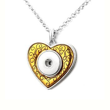 Snap Gold Love 18mm Snap Button Jewelry Snap Button snaps Necklace & Pendants 60cm Chain ginger Charm