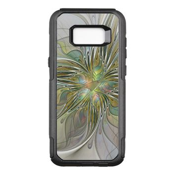 Floral Fantasy Modern Fractal Art Flower With Gold OtterBox Commuter Samsung Galaxy S8+ Case