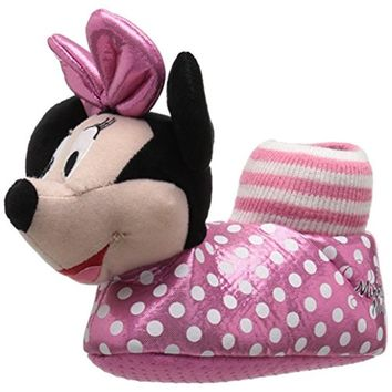 Disney Girls Minnie Mouse Polka Dot Novelty Slippers