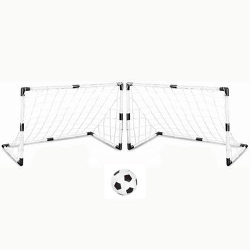 New arrival Set of 2 DIY White Youth Sports Soccer Goals with Soccer Ball and Pump Practice Scrimmage Game