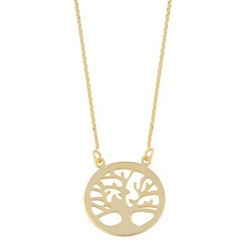 10K Yellow Gold Sideways Tree Of Life Pendant Necklace, 18""