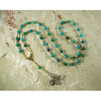 Seshet (Seshat) Prayer Bead Necklace in Chrysocolla: Egyptian Goddess of Writing, Wisdom and Knowledge