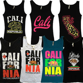 California Republic WOMENS TANK TOP SHIRTS - Cali State Flag Bear Los Angeles