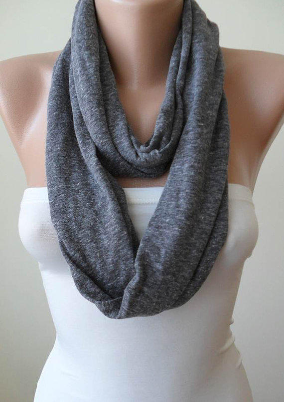 Infinty - Loop - Grey Scarf - Combed Cotton Fabric for Summer