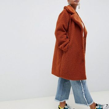 Boohoo Plus teddy coat in brown at asos.com
