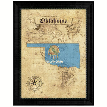 Oklahoma State Vintage Map Gifts Home Decor Wall Art Office Decoration