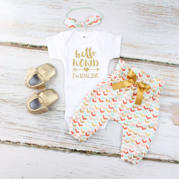 Personalized Hello World Outfit | Mint, Gold, Coral Broken Chevron High Hello World Outfit | High Waisted Pants and Knotted Headband