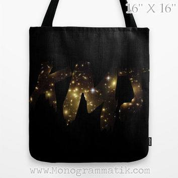 "Monogram/Personalized Custom ""Crea"" Tote Bag13x13 Initials Name Letters Black Gold Space Star Galaxy Cosmos For Her Him Gift Carryall Purse"