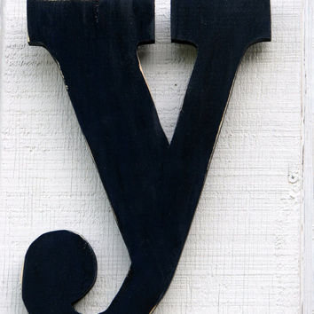 Lowercase wood letter y distressed from borlovanwoodworks on for Living room 7 letters