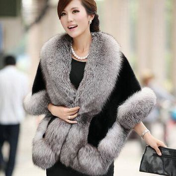 Winter Leather Grass Fox Fur Mink Rabbit Fur Poncho Cape Bridal Wedding Dress Shawl Cape Women Vest Fur Coat