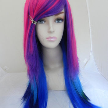 HAPPY HOLIDAYS SALE / Hot Pink, Purple, Green, Navy, Aqua, Royal Blue / Long Straight Layered Wig