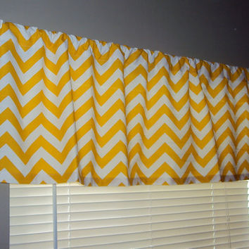 50x14 Modern Chevron Yellow Zig Zag Cotton Valance Window Treatment