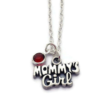 Mommy's Girl Necklace, Gifts for Daughter, Birthstone Necklace, Kids Jewelry, Stocking Stuffer Ideas, Gift for Stepdaughter, Mommy Keepsake