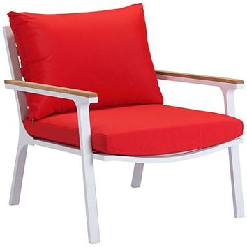 Zuo Maya Beach Red and White Outdoor Armchair Set of 2 - #1Y240 | Lamps Plus