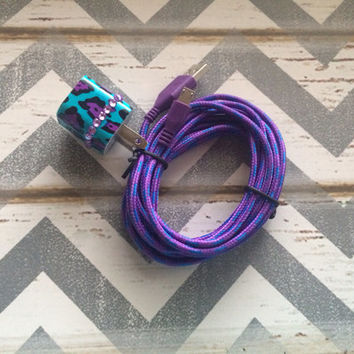 New Super Cute Jeweled Turquoise Cheetah Print USB Wall Connector + 10ft Braided Purple Samsung Galaxy S3, S4 & Samsung Note 2/3 Cable Cord