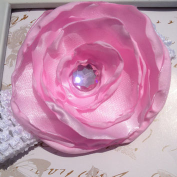 large satin rose headband, white, pink, purple headband,Baby Headband, baby headbands, Newborn headband,infant headband,baby girl headband