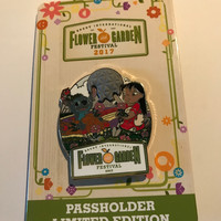 Disney Parks Epcot Flower & Garden 2017 Lilo & Sticth Passholder Limited Pin New