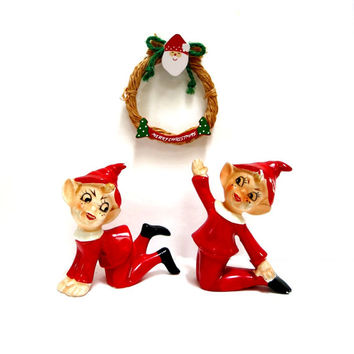 Pair Santa's Elves Red & White Suits Playful Poses Vintage 1950s Ceramic