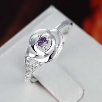 Natural Amethyst 925 Silver Ring Sapphire Jewelry Diamond Ring  Rose Ring for Women