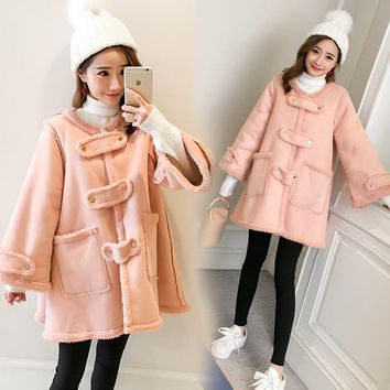 6253# Sweet Pink Thicken Velvet Maternity Coats 2018 Autumn Winter Fashion Jackets Clothes for Pregnant Women Pregnancy Outwear