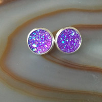 Purple Druzy Earrings Violet Faux Druzy Stud Earrings Purple Earrings Sparkly Purple Druzy Stud Earrings Purple AB Druzy Earrings (E340)
