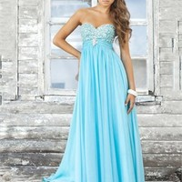 A-line Strapless Sweetheart Empire Beaded Bodice Long Chiffon Prom Dress