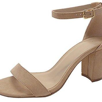 Cambridge Select Womens Open Toe Single Band Buckle Ankle Strappy Chunky Stacked Block Heel Sandal