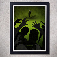 The walking dead poster zombies digital print Rick Grimes alternative movie poster green black