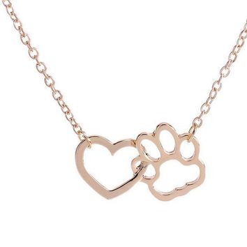 CREYV2S Dog Paw shape + Heart Shape Necklace For Women Personalized Fashion Jewelry (Gloden)