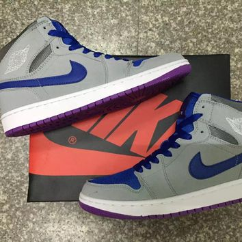 Air Jordan 1 High PRM Grey /Blue / Purple Basketball Sneaker
