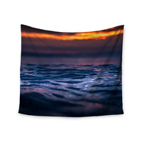 "Colin Pierce ""Night Fire"" Blue Orange Photography Wall Tapestry"