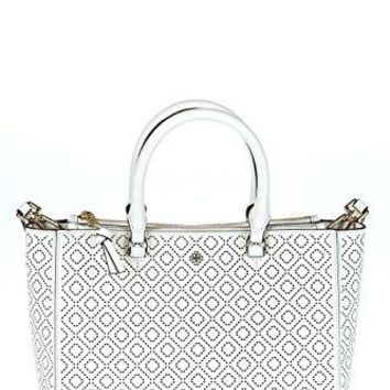 Tory Burch Small Robinson Perforated Tote Handbag New Ivory Bag