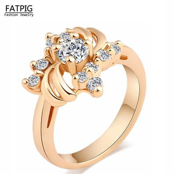 Fashion Flower Rings AAA Zircon Gold Color Luxury Rose Blooming Fashion Jewelry for Lady and Women Engagement Rings