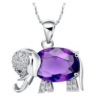 White Gold Plated Cute Elephant Purple Crystal Pendant Necklace